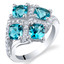 2.50 Carat London Blue Topaz Sterling Silver Quad Ring Sizes 5 to 9