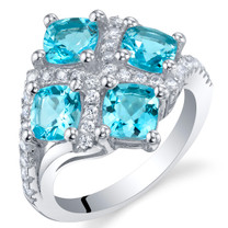 2.50 Carat Swiss Blue Topaz Sterling Silver Quad Ring Sizes 5 to 9