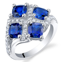 2.50 Carat Created Blue Sapphire Sterling Silver Quad Ring Sizes 5 to 9