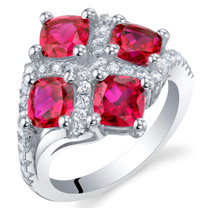 2.50 Carat Created Ruby Sterling Silver Quad Ring Sizes 5 to 9