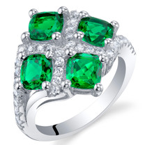 2 Carat Simulated Emerald Sterling Silver Quad Ring Sizes 5 to 9