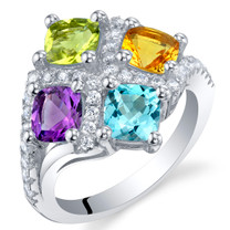 Amethyst Peridot Citrine Blue Topaz Sterling Silver Quad Ring Sizes 5 to 9