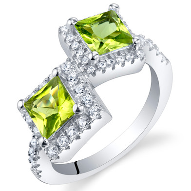 Peridot Sterling Silver Princess Cut Two-Stone Ring Sizes 5 to 9