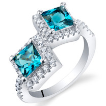 London Blue Topaz Sterling Silver Princess Cut Two-Stone Ring Sizes 5 to 9