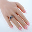 Created Blue Sapphire Sterling Silver Princess Cut Two-Stone Ring Sizes 5 to 9