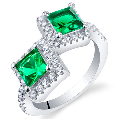 Simulated Emerald Sterling Silver Princess Cut Two-Stone Ring Sizes 5 to 9