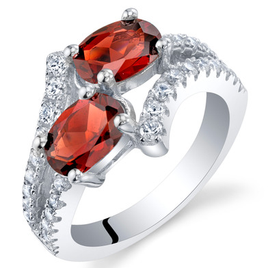 Garnet Sterling Silver Two-Stone Ring Sizes 5 to 9