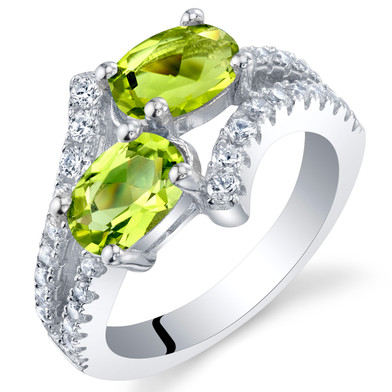 Peridot Sterling Silver Two-Stone Ring Sizes 5 to 9