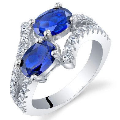 Created Blue Sapphire Sterling Silver Two-Stone Ring Sizes 5 to 9