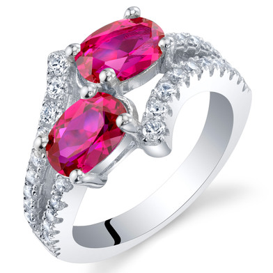 Created Ruby Sterling Silver Two-Stone Ring Sizes 5 to 9