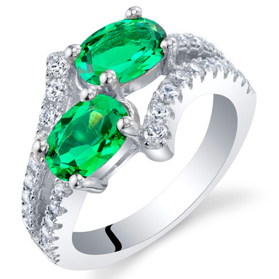 Simulated Emerald Sterling Silver Two-Stone Ring Sizes 5 to 9