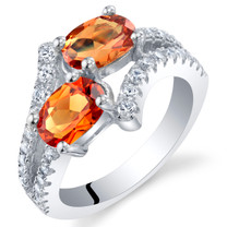 Created Padparadscha Sapphire Sterling Silver Two-Stone Ring Sizes 5 to 9