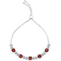 Sterling Silver Garnet Cushion Cut Halo Adjustable Bracelet 6.00 Carats Total