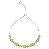 Sterling Silver Peridot Cushion Cut Halo Adjustable Bracelet 5.25 Carats Total