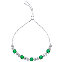 Sterling Silver Simulated Emerald Cushion Cut Halo Adjustable Bracelet 4.00 Carats Total
