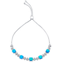 Sterling Silver Created Blue Opal Halo Adjustable Bracelet 2.50 Carats Total