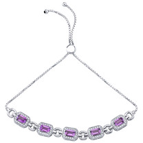 Sterling Silver Amethyst Adjustable Friendship Bracelet 2.50 Carats Total