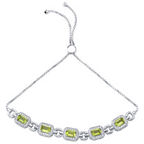 Sterling Silver Peridot Adjustable Friendship Bracelet 3.00 Carats Total