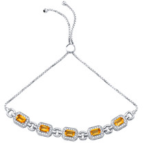 Sterling Silver Citrine Adjustable Friendship Bracelet 2.50 Carats Total