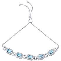 Sterling Silver Swiss Blue Topaz Adjustable Friendship Bracelet 3.00 Carats Total