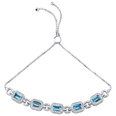 Sterling Silver London Blue Topaz Adjustable Friendship Bracelet 3.00 Carats Total