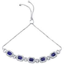 Sterling Silver Created Blue Sapphire Adjustable Friendship Bracelet 3.50 Carats Total
