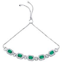 Sterling Silver Simulated Emerald Adjustable Friendship Bracelet 3.00 Carats Total