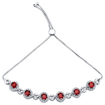 Sterling Silver Garnet Equate Adjustable Bracelet 4.00 Carats Total