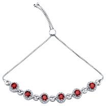 Sterling Silver Garnet Equate Adjustable Bracelet 4.00 Carats Total
