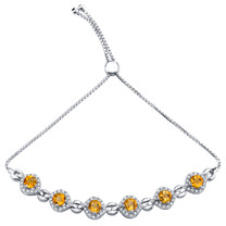 Sterling Silver Citrine Equate Adjustable Bracelet 2.75 Carats Total