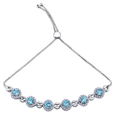 Sterling Silver Swiss Blue Topaz Equate Adjustable Bracelet 3.75 Carats Total