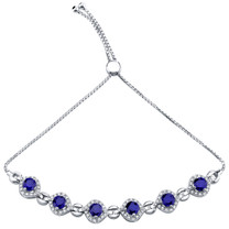 Sterling Silver Created Blue Sapphire Equate Adjustable Bracelet 3.75 Carats Total
