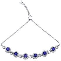 Sterling Silver Created Blue Sapphire Equate Adjustable Bracelet 3.75 Carats Total