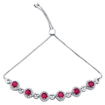 Sterling Silver Created Ruby Equate Adjustable Bracelet 3.75 Carats Total
