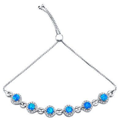 Sterling Silver Created Blue Opal Equate Adjustable Bracelet 2.50 Carats Total