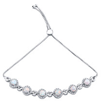 Sterling Silver Created White Opal Equate Adjustable Bracelet 2.50 Carats Total