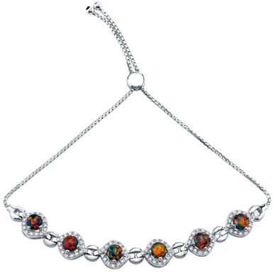 Sterling Silver Created Black Opal Equate Adjustable Bracelet 2.50 Carats Total