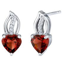 Garnet Sterling Silver Heart Earrings 2.00 Carats Total