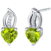 Peridot Sterling Silver Heart Earrings 1.50 Carats Total