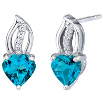 London Blue Topaz Sterling Silver Heart Earrings 2.00 Carats Total