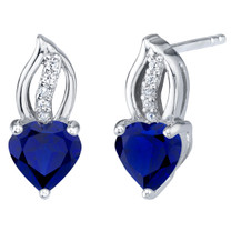 Created Blue Sapphire Sterling Silver Heart Earrings 2.00 Carats Total