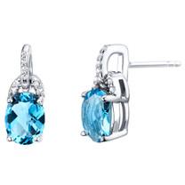 Swiss Blue Topaz Sterling Silver Pirouette Drop Earrings 3.00 Carats Total