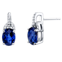 Created Blue Sapphire Sterling Silver Pirouette Drop Earrings 3.00 Carats Total