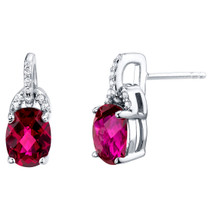 Created Ruby Sterling Silver Pirouette Drop Earrings 3.00 Carats Total