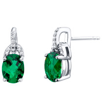 Simulated Emerald Sterling Silver Pirouette Drop Earrings 2.25 Carats Total