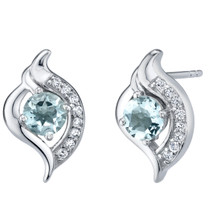 Aquamarine Sterling Silver Elvish Stud Earrings 1.00 Carat Total