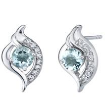 Aquamarine Sterling Silver Elvish Stud Earrings 1.00 Carat Total