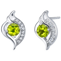 Peridot Sterling Silver Elvish Stud Earrings 1.00 Carat Total
