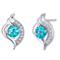Swiss Blue Topaz Sterling Silver Elvish Stud Earrings 1.25 Carats Total