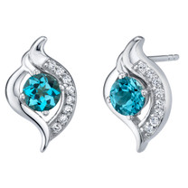 London Blue Topaz Sterling Silver Elvish Stud Earrings 1.25 Carats Total